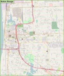 large detailed map of baton rouge