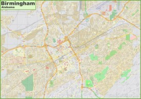 Large detailed map of Birmingham