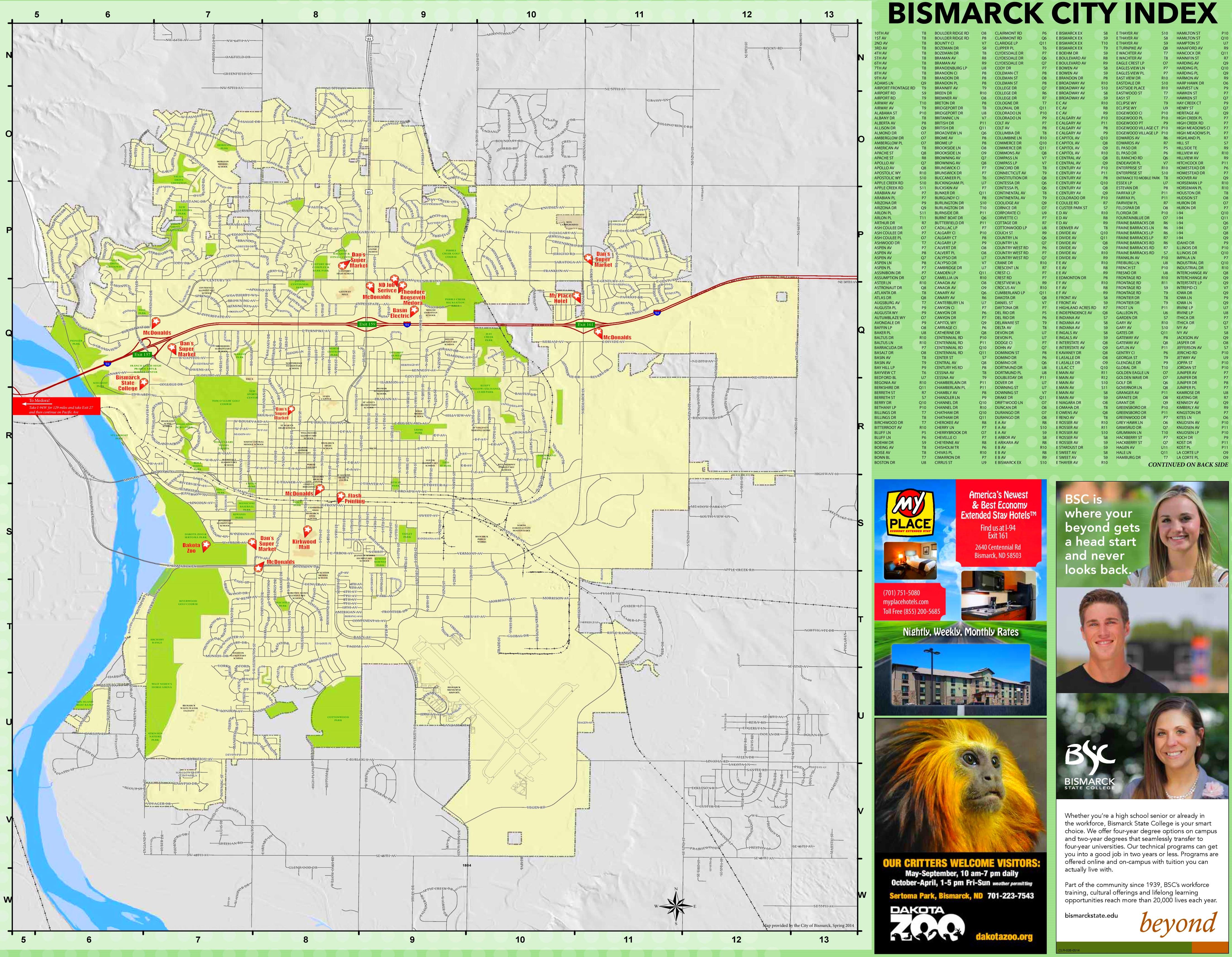 Bismarck street map