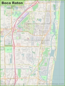 Large detailed map of Boca Raton