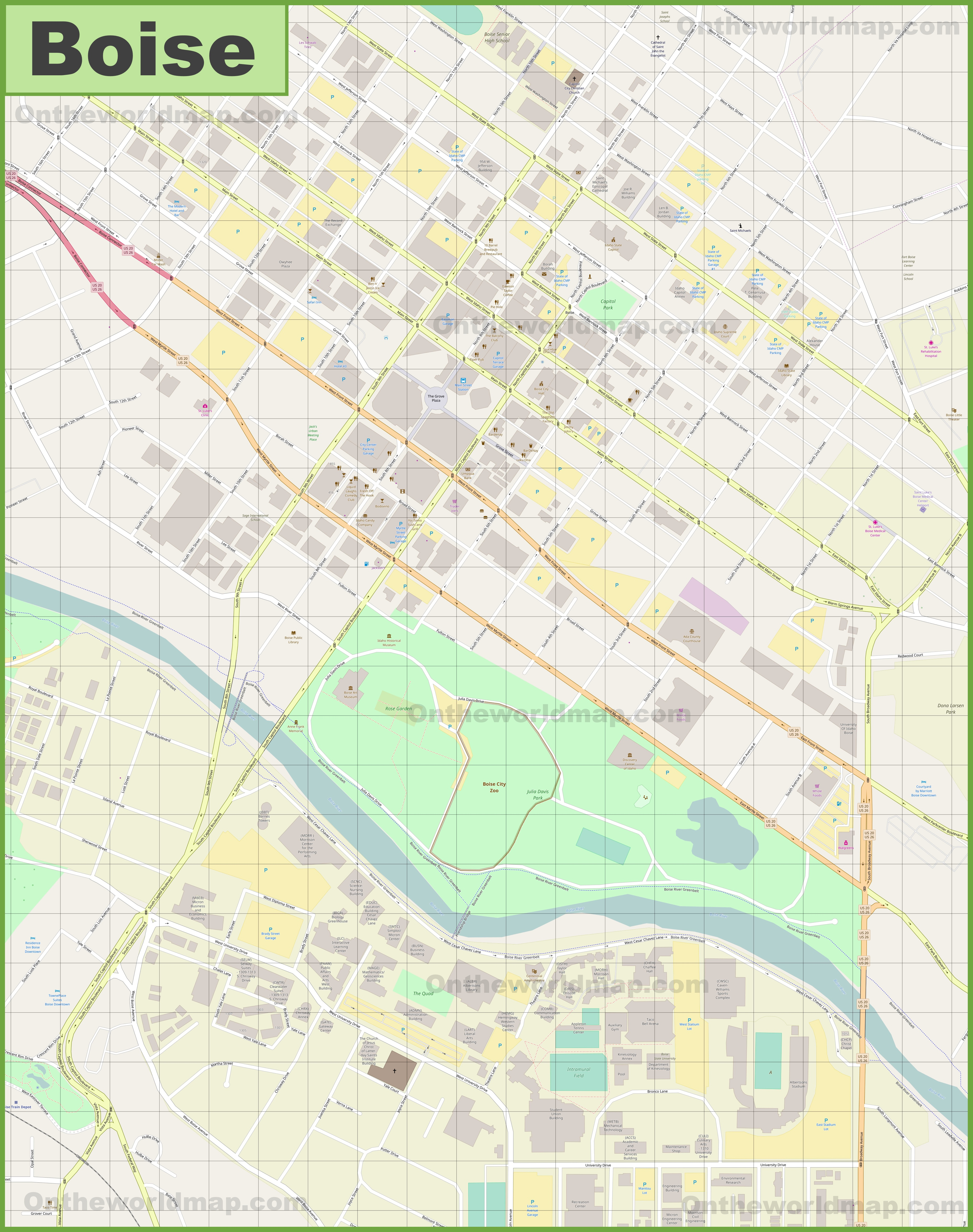 Boise downtown map