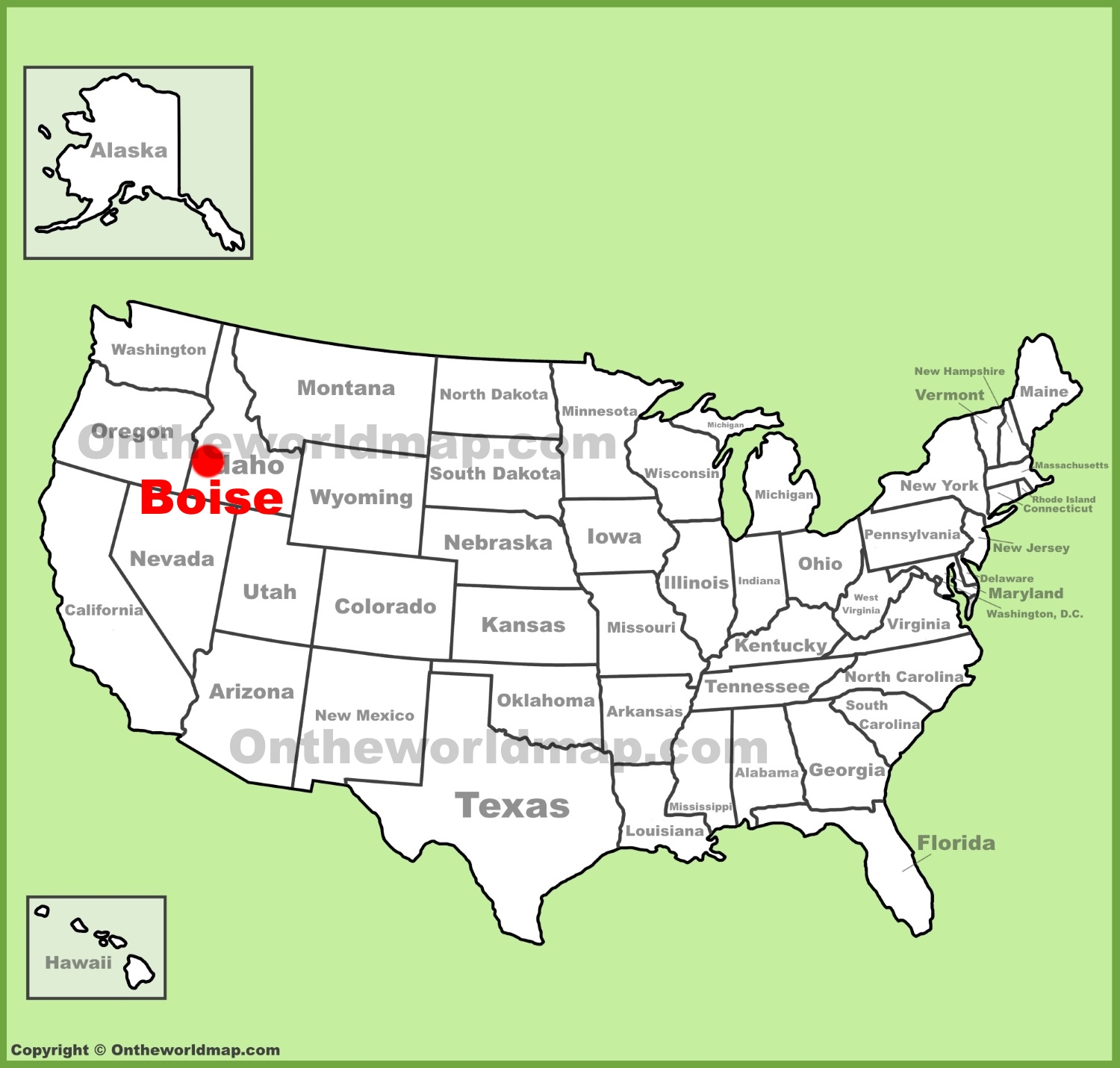 Boise location on the US Map