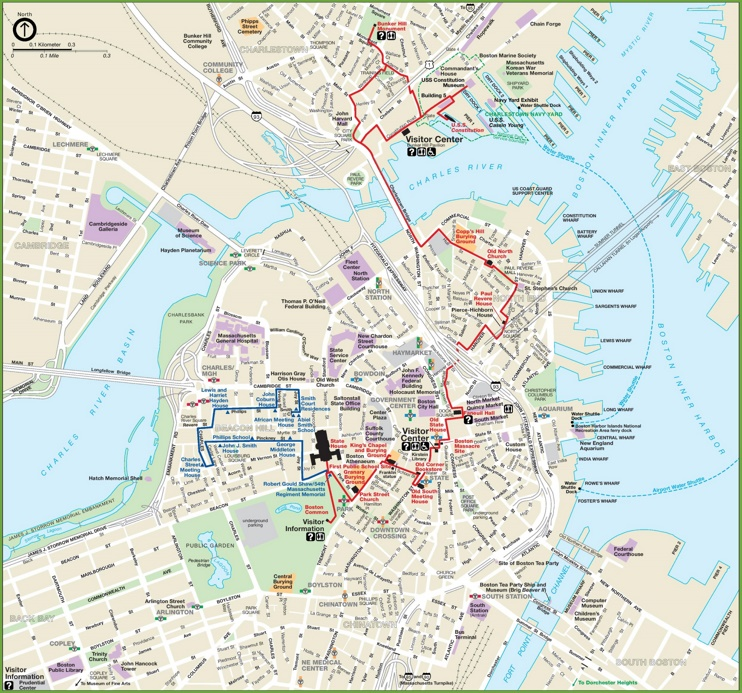 Boston city center map