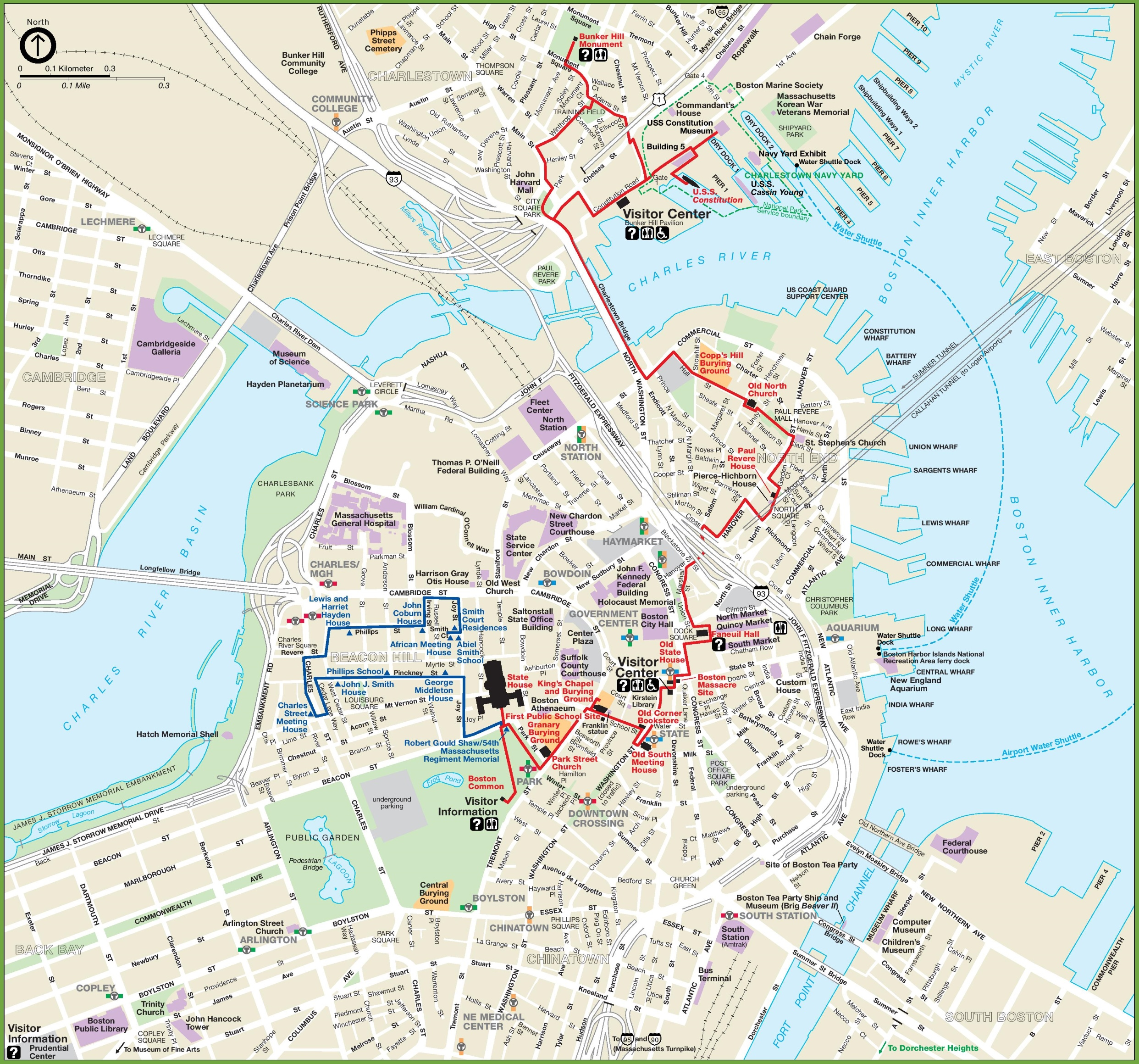Boston City Center Map - Boston in usa map