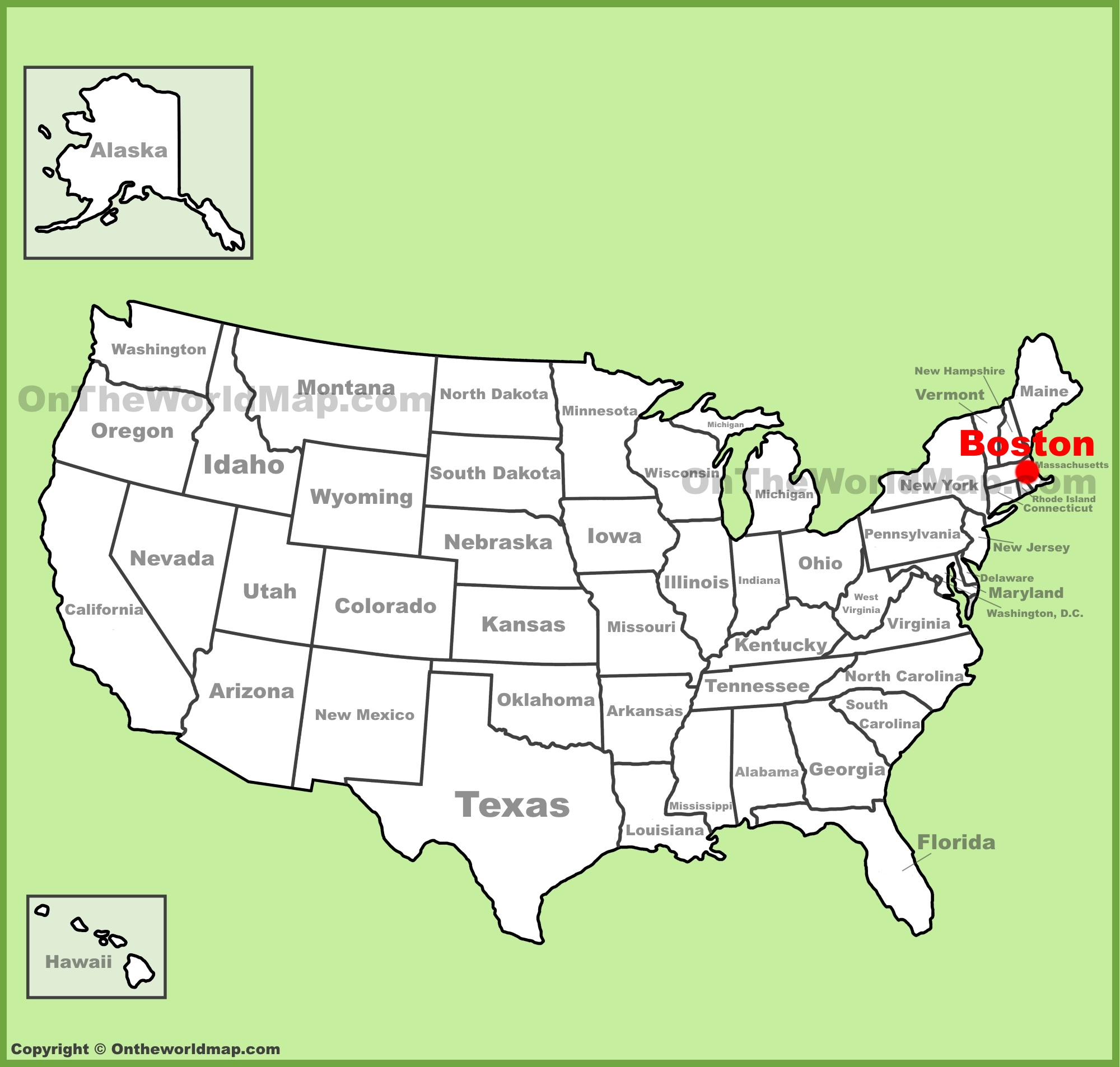 Boston On Us Map Boston location on the U.S. Map