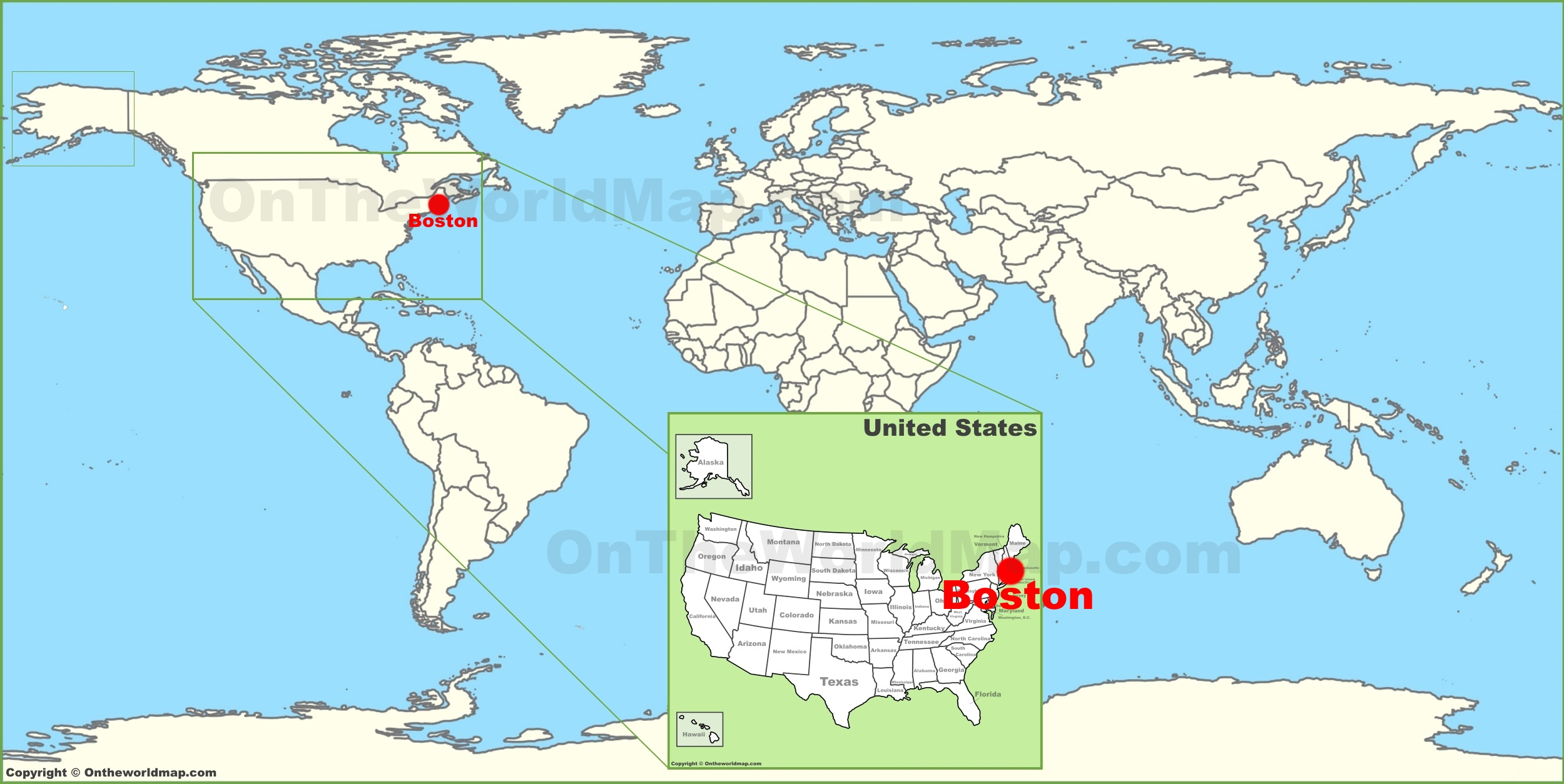 Boston On A Map Boston on the World Map