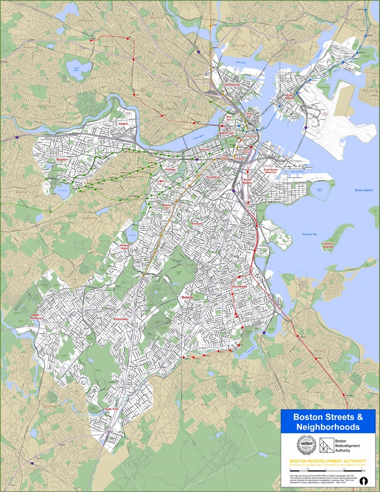 Boston streets and neighborhoods map