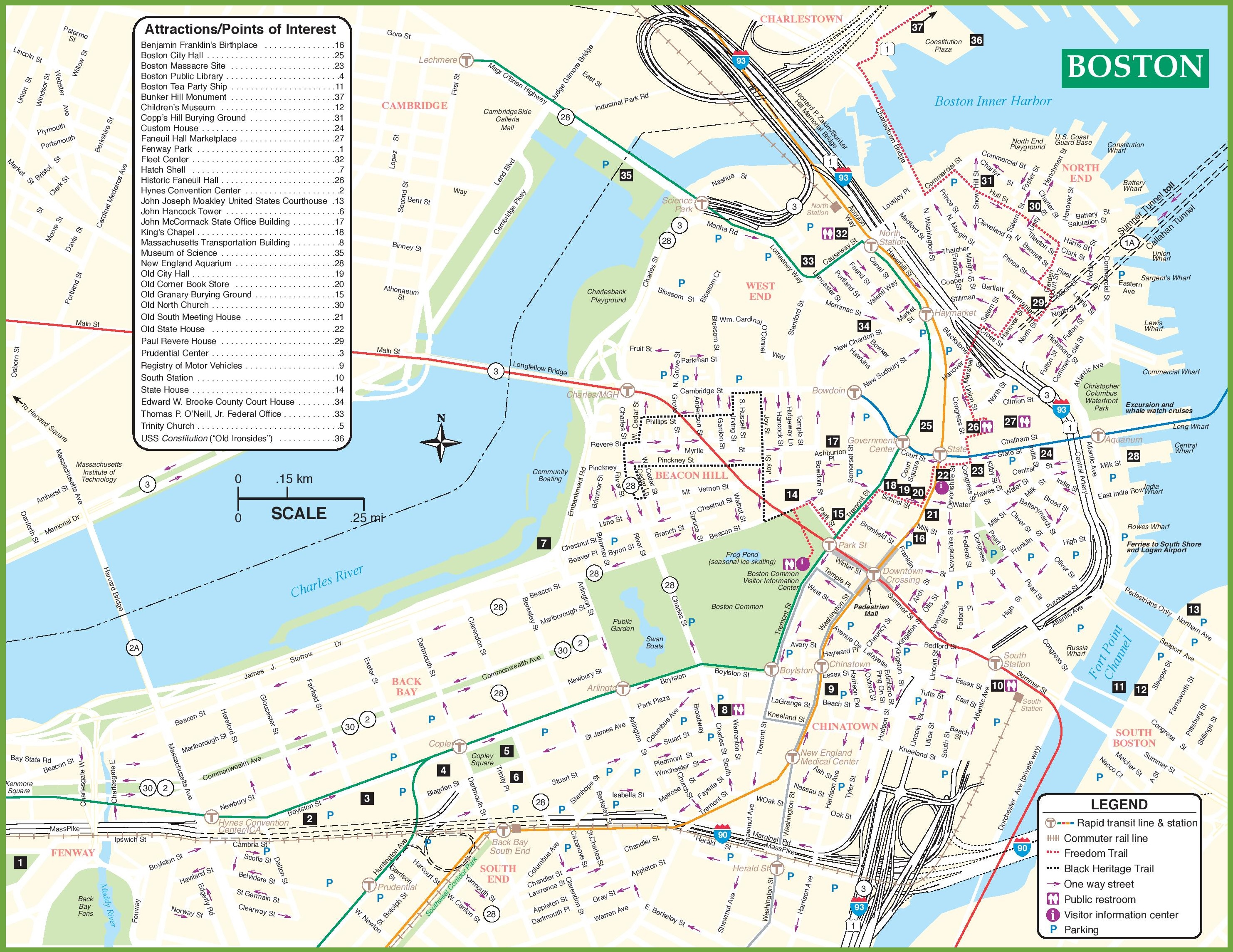 Boston Maps Massachusetts US – Tourist Attractions Map In Massachusetts