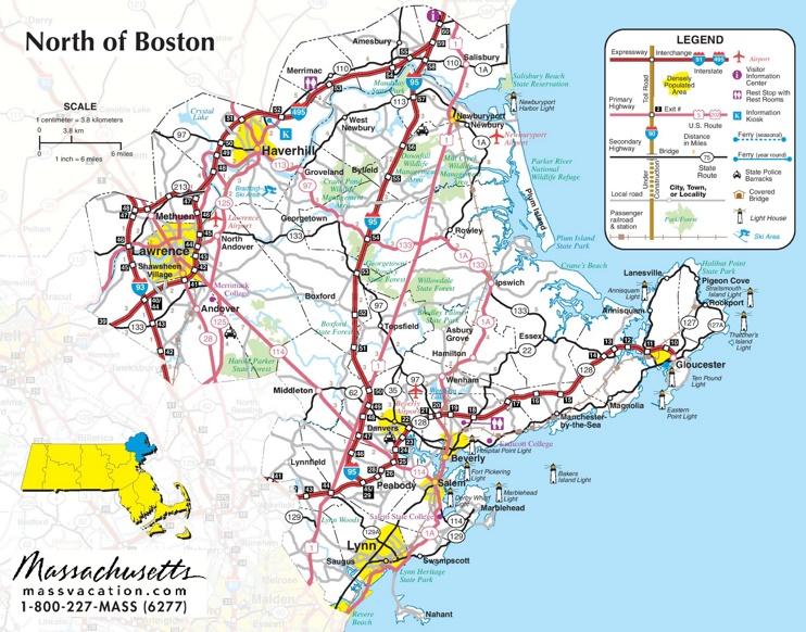 North of Boston map