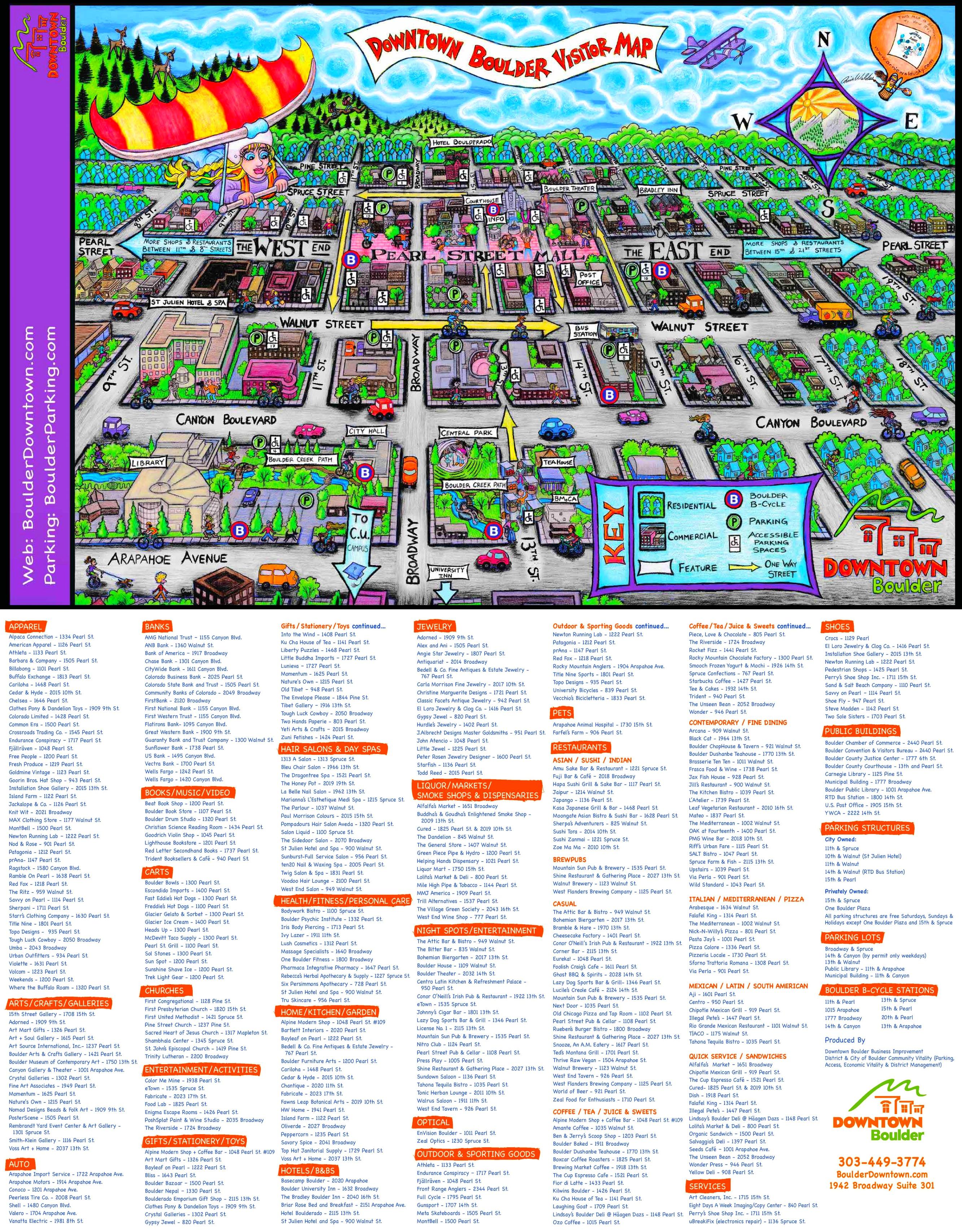 Boulder tourist map