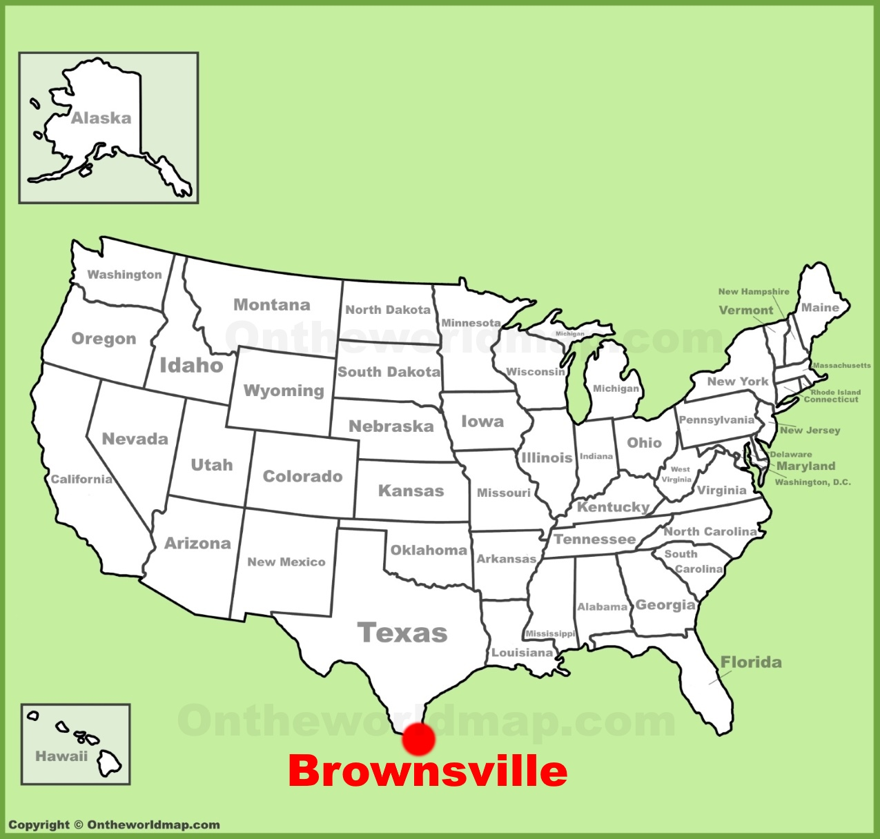 Brownsville location on the US Map