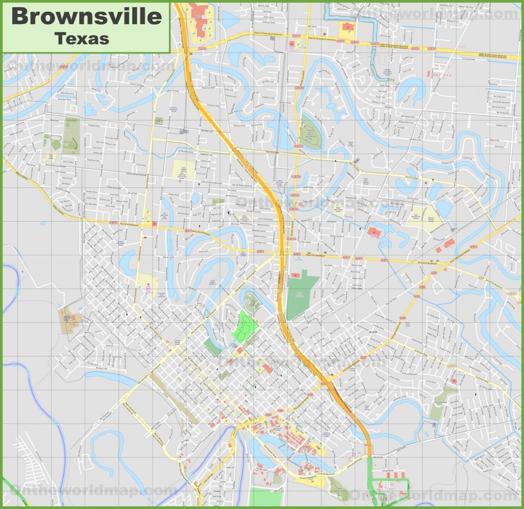 Large detailed map of Brownsville