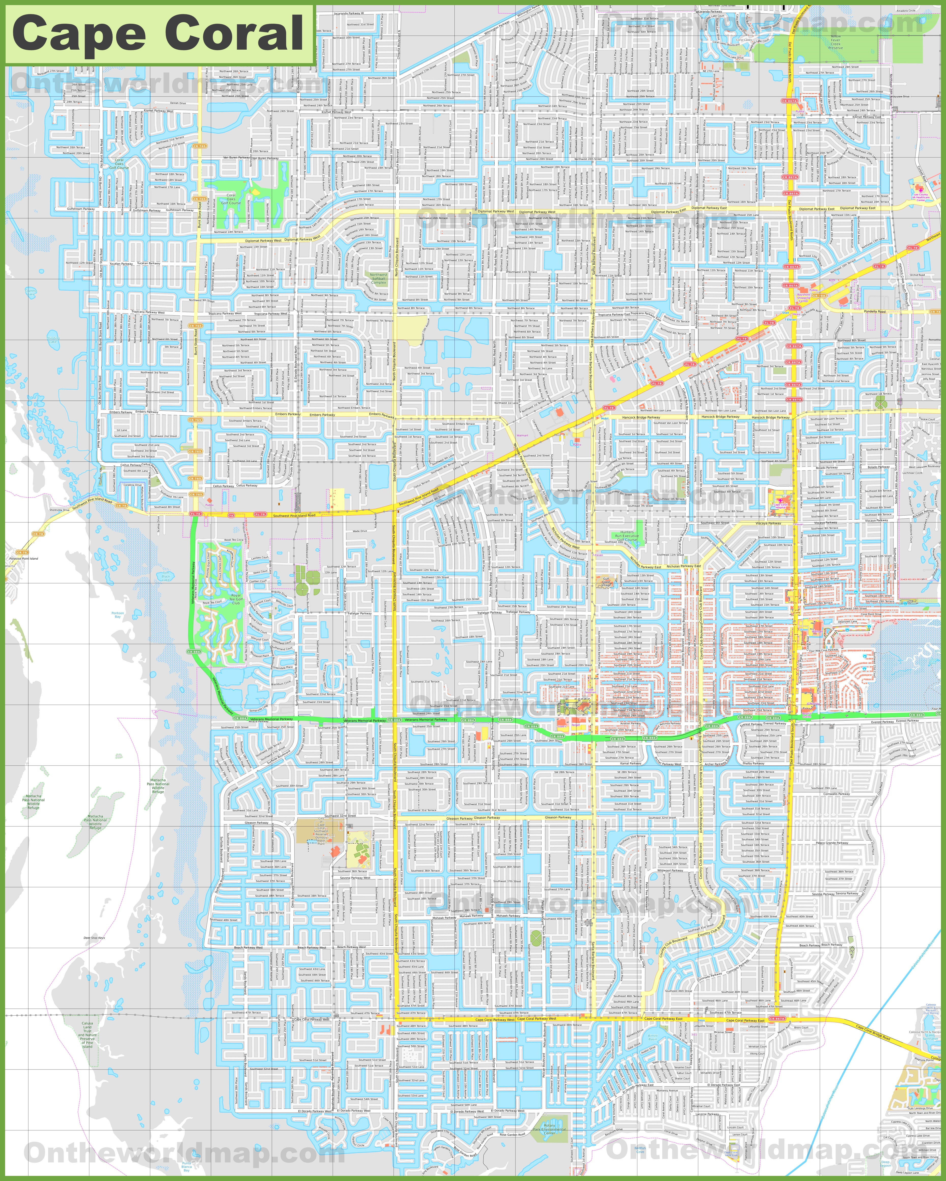 Large Detailed Map Of Cape Coral - Cape coral map