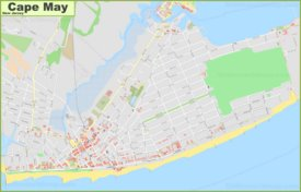 Large detailed map of Cape May