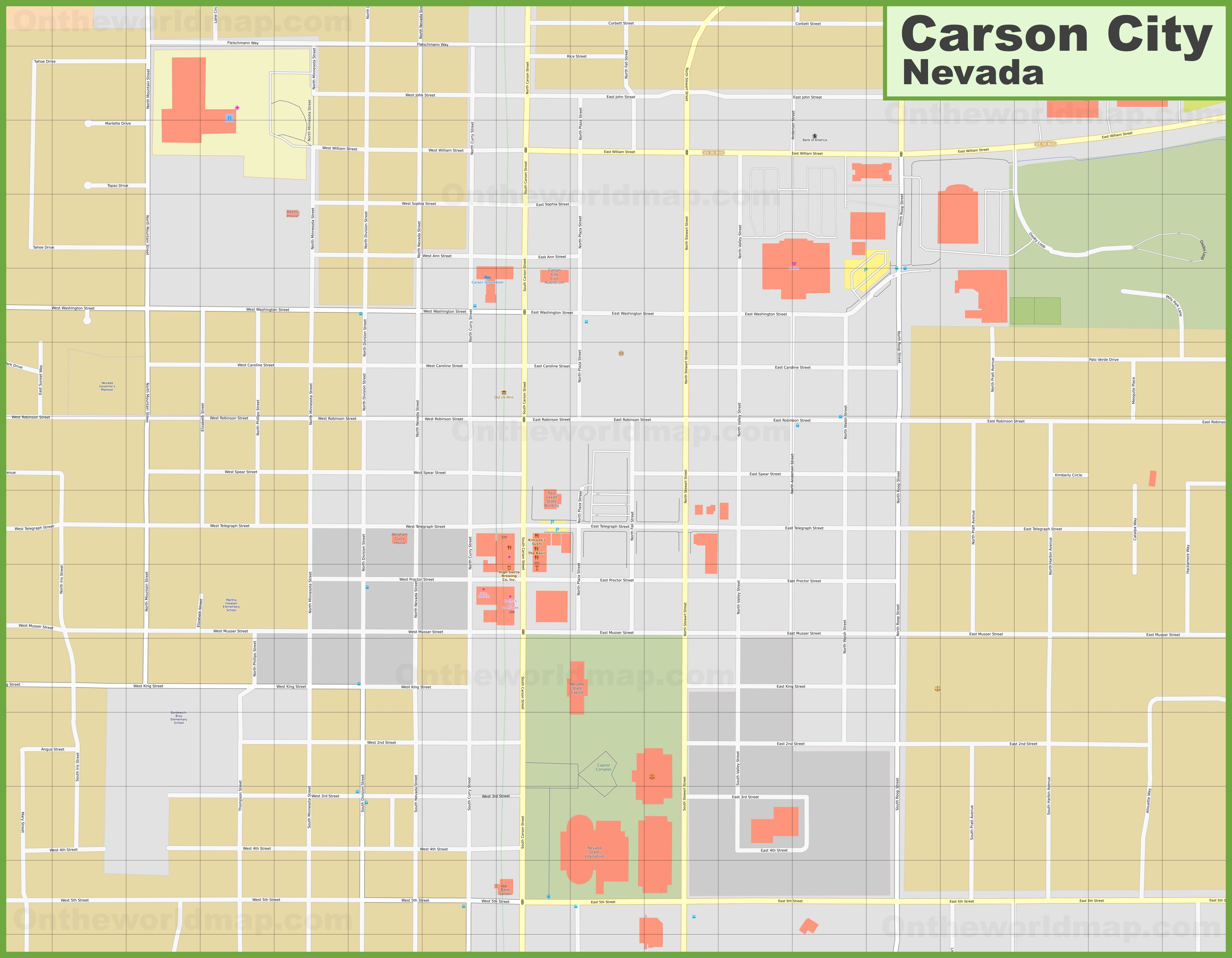 Carson City downtown map on