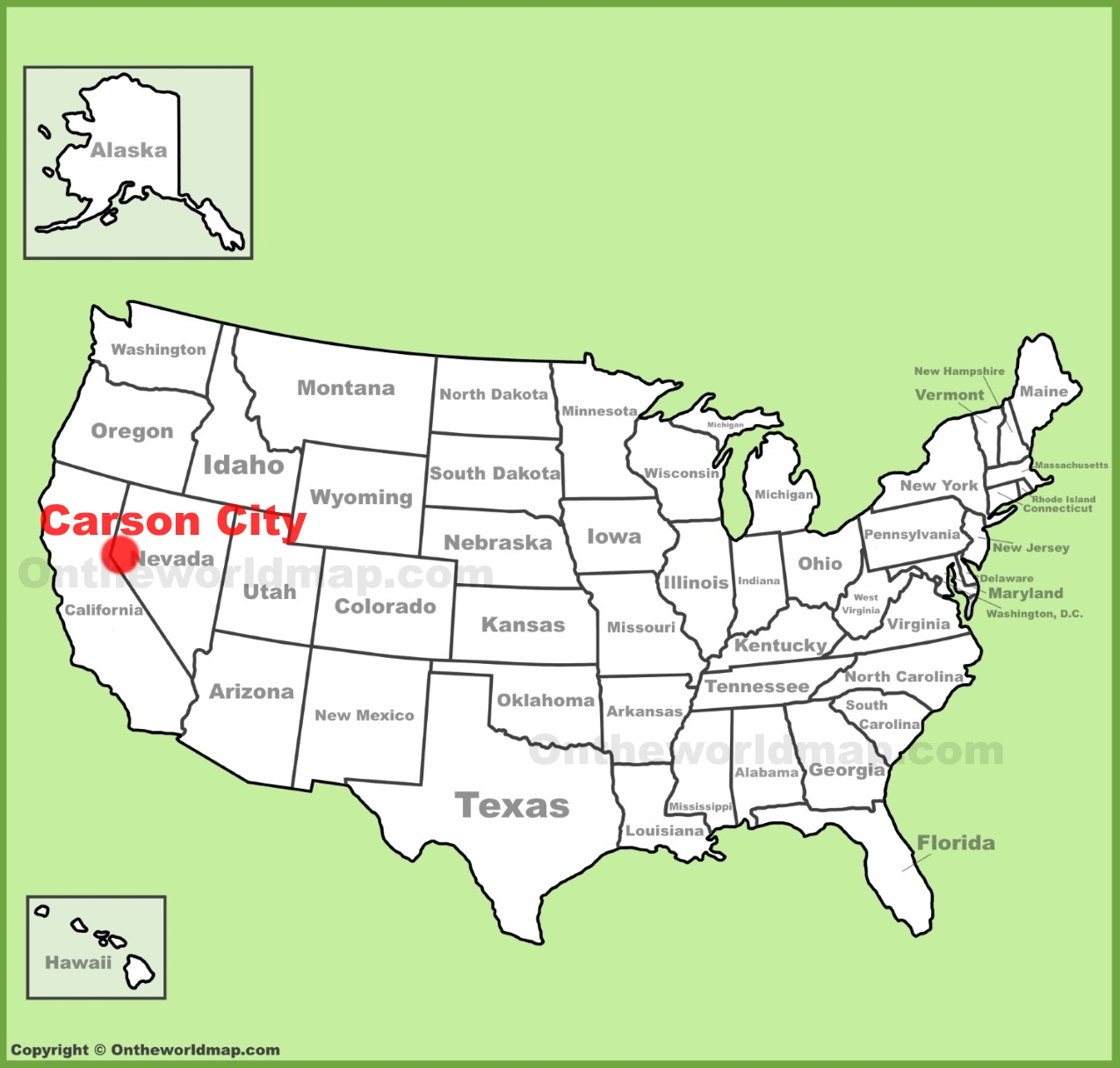 Carson City location on the U.S. Map on