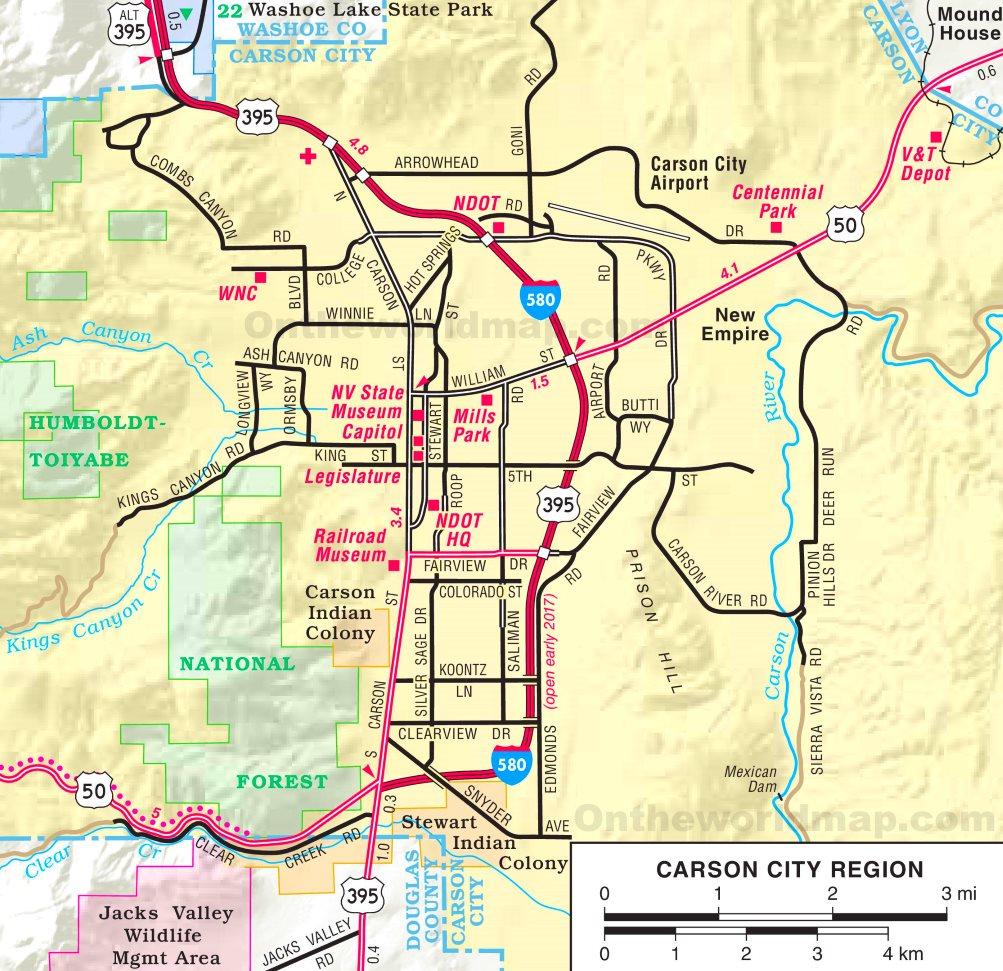 Carson City Region Road Map