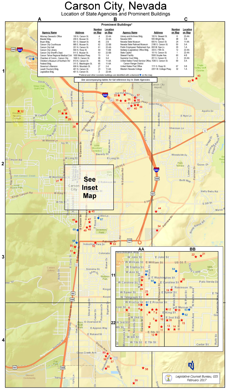Carson City tourist map