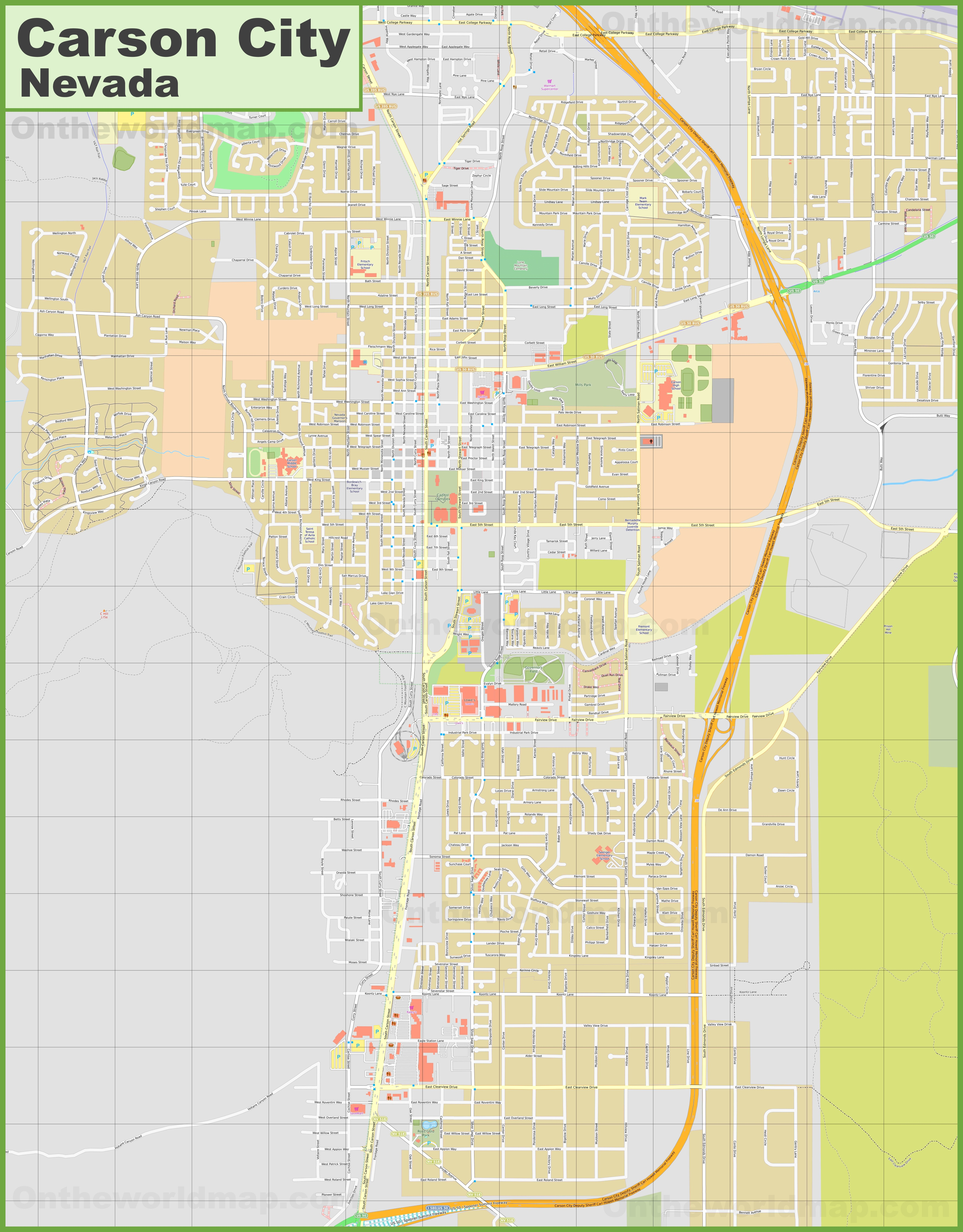 Large detailed map of Carson City