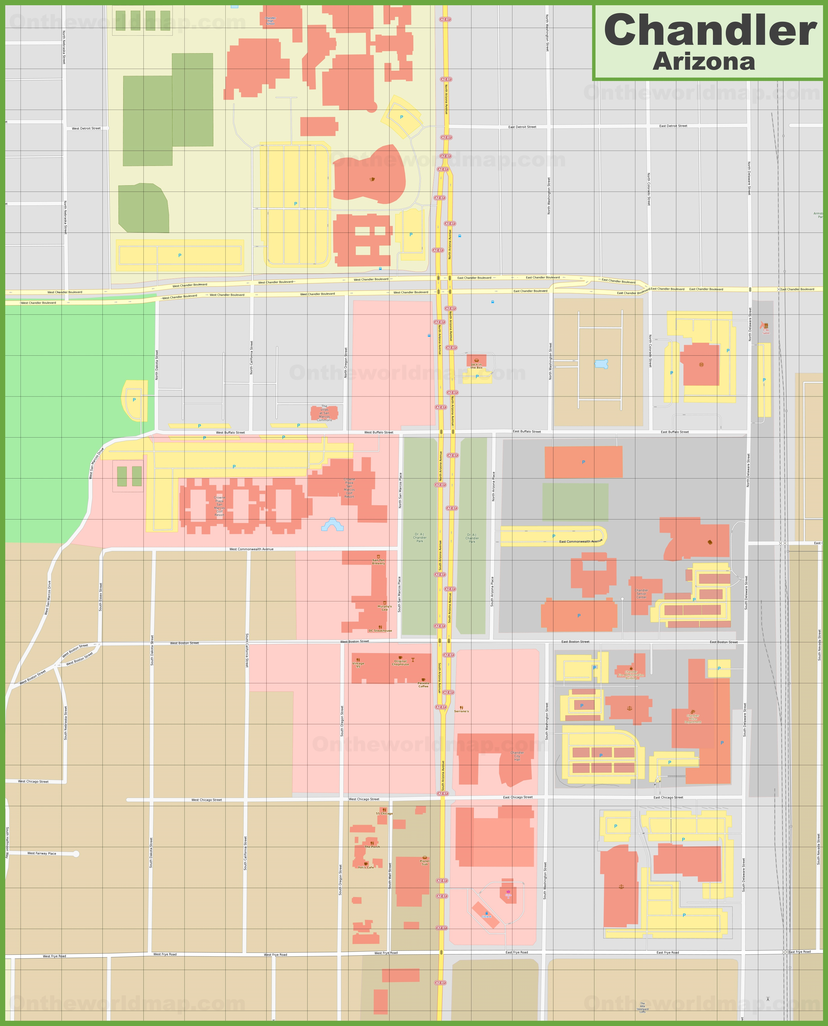 Chandler downtown map on
