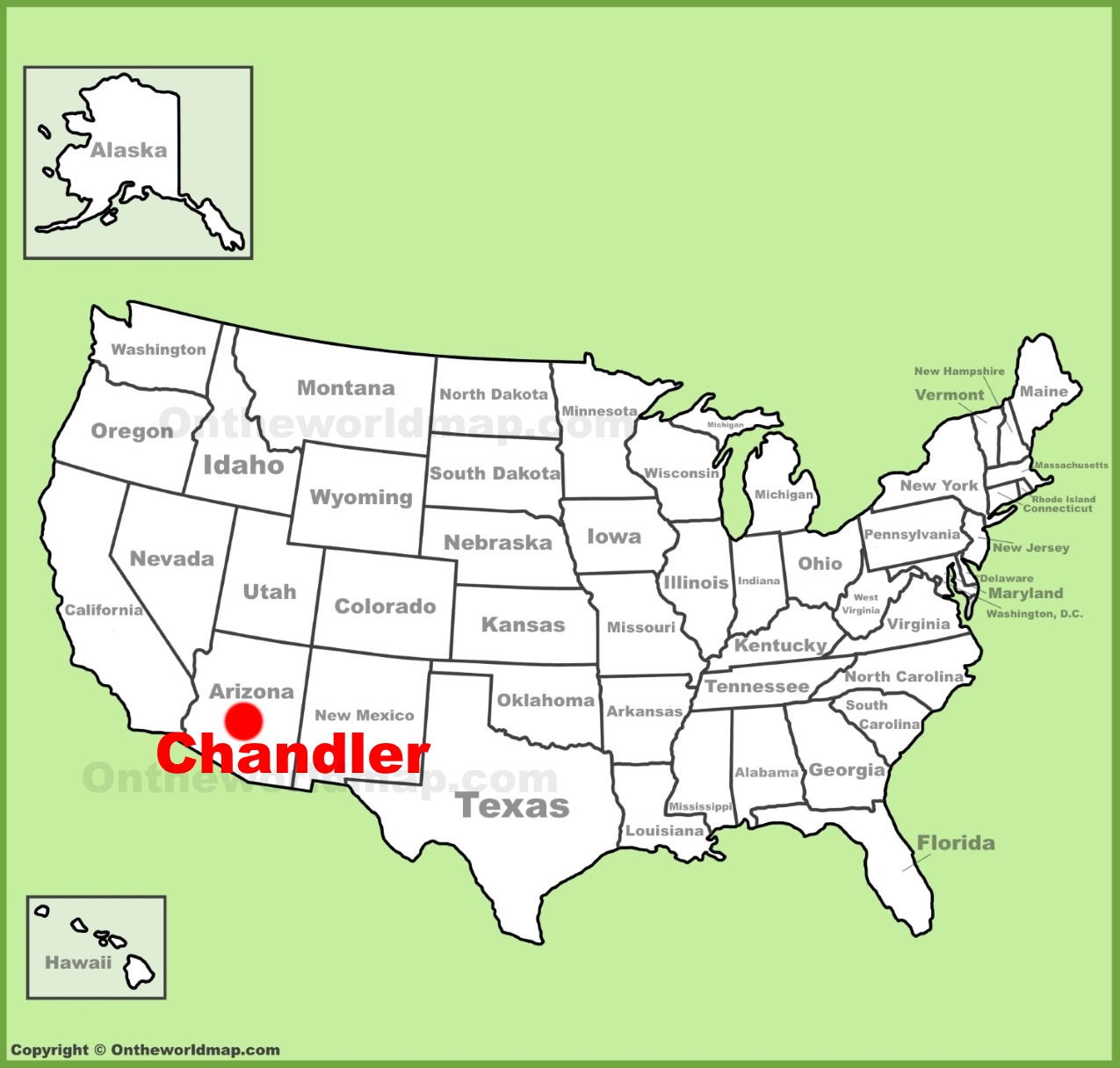 Chandler location on the US Map