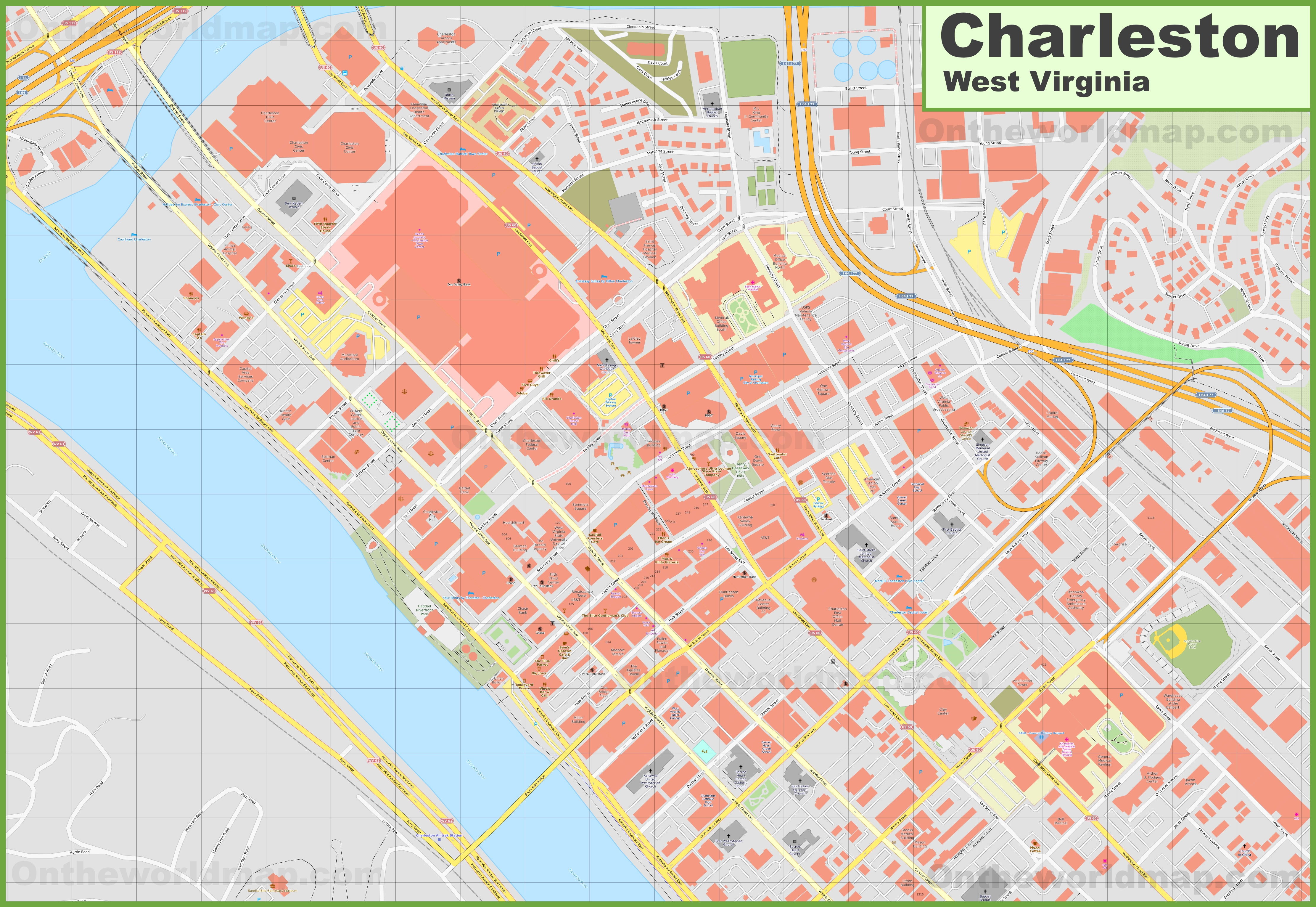 Charleston downtown map