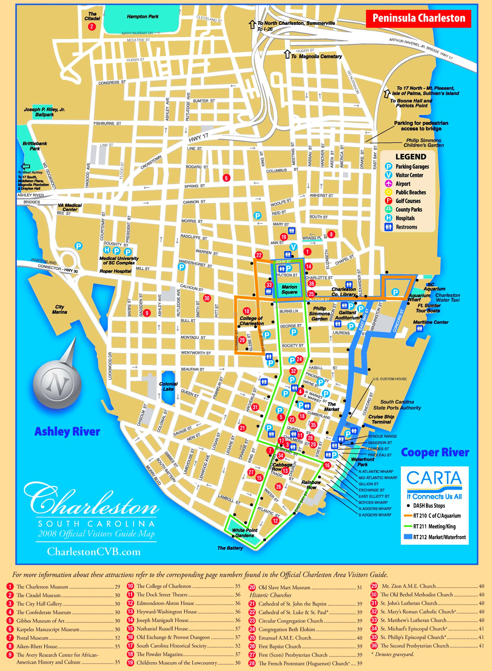 Charleston tourist map on