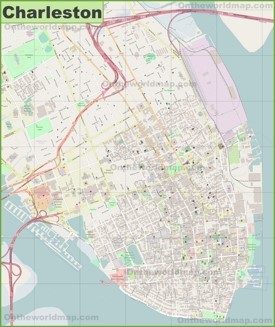 Large detailed map of Charleston