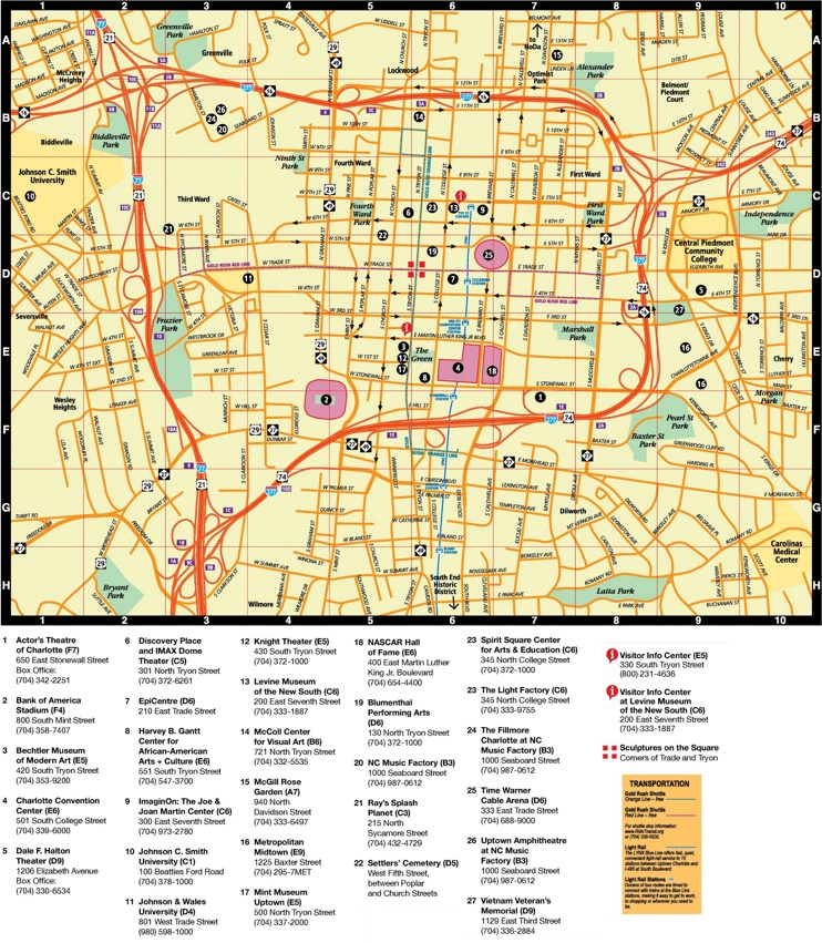 Charlotte city center map