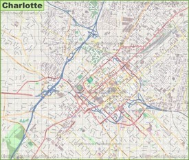 Large detailed map of Charlotte