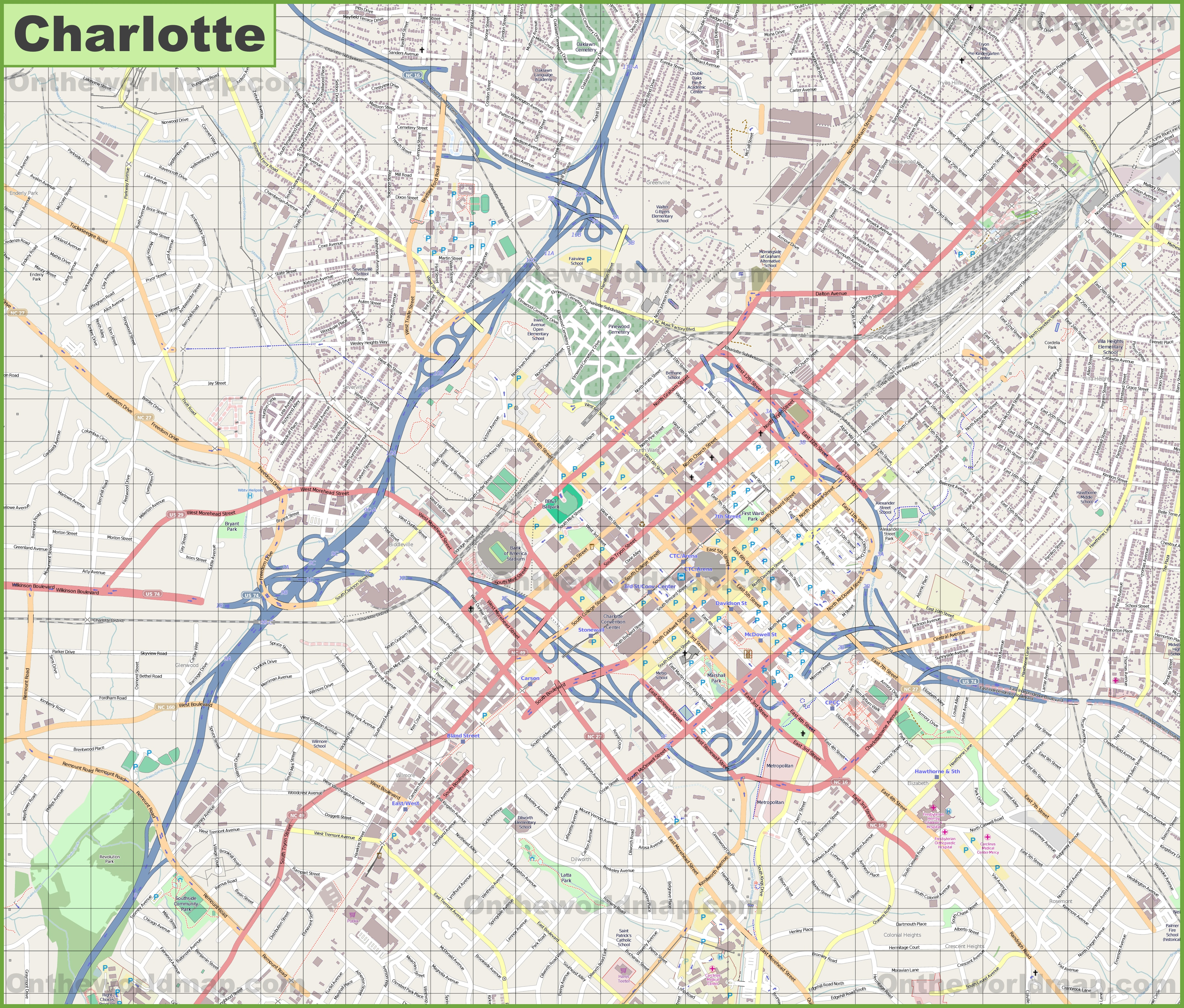 Large Detailed Map Of Charlotte - Charlotte usa map