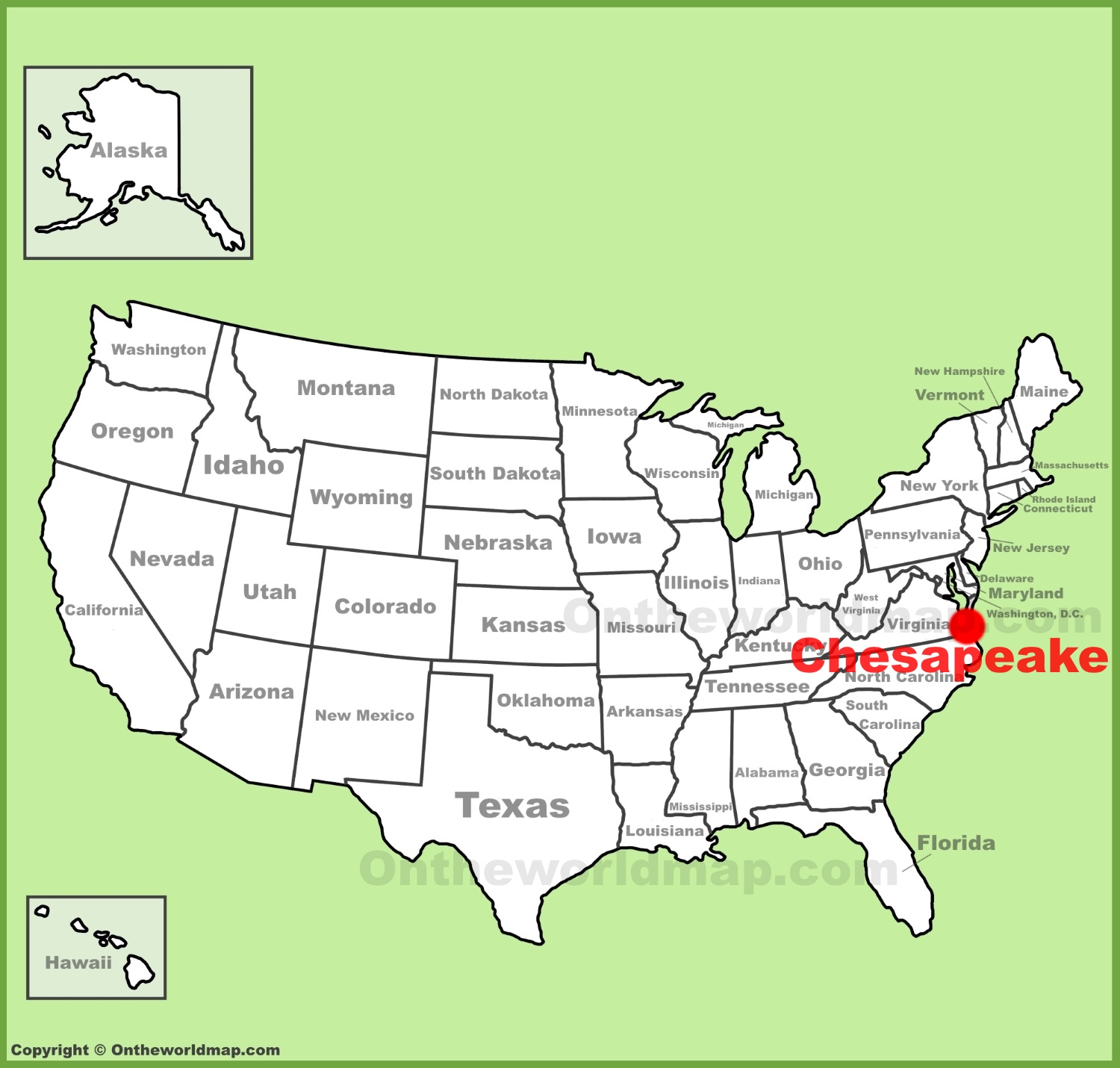 Chesapeake location on the US Map