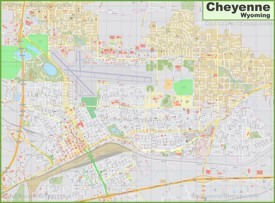 Large detailed map of Cheyenne