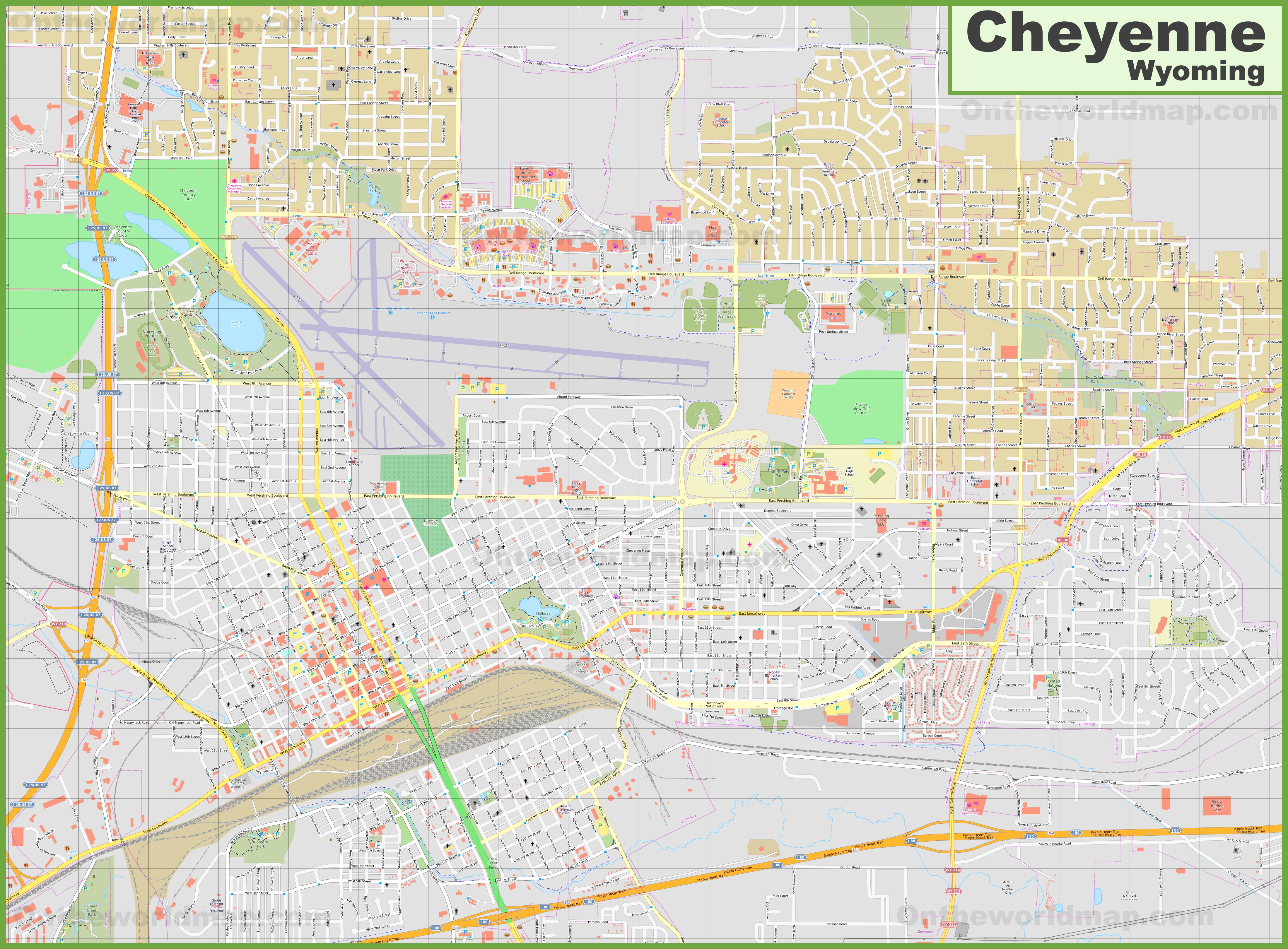 Cheyenne Maps Wyoming US Maps of Cheyenne