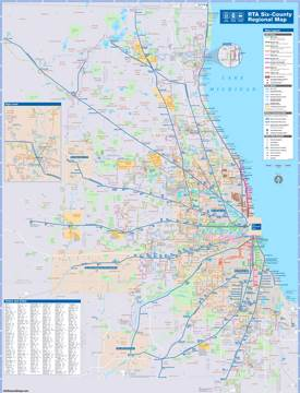 Chicago area CTA, Metra and bus map