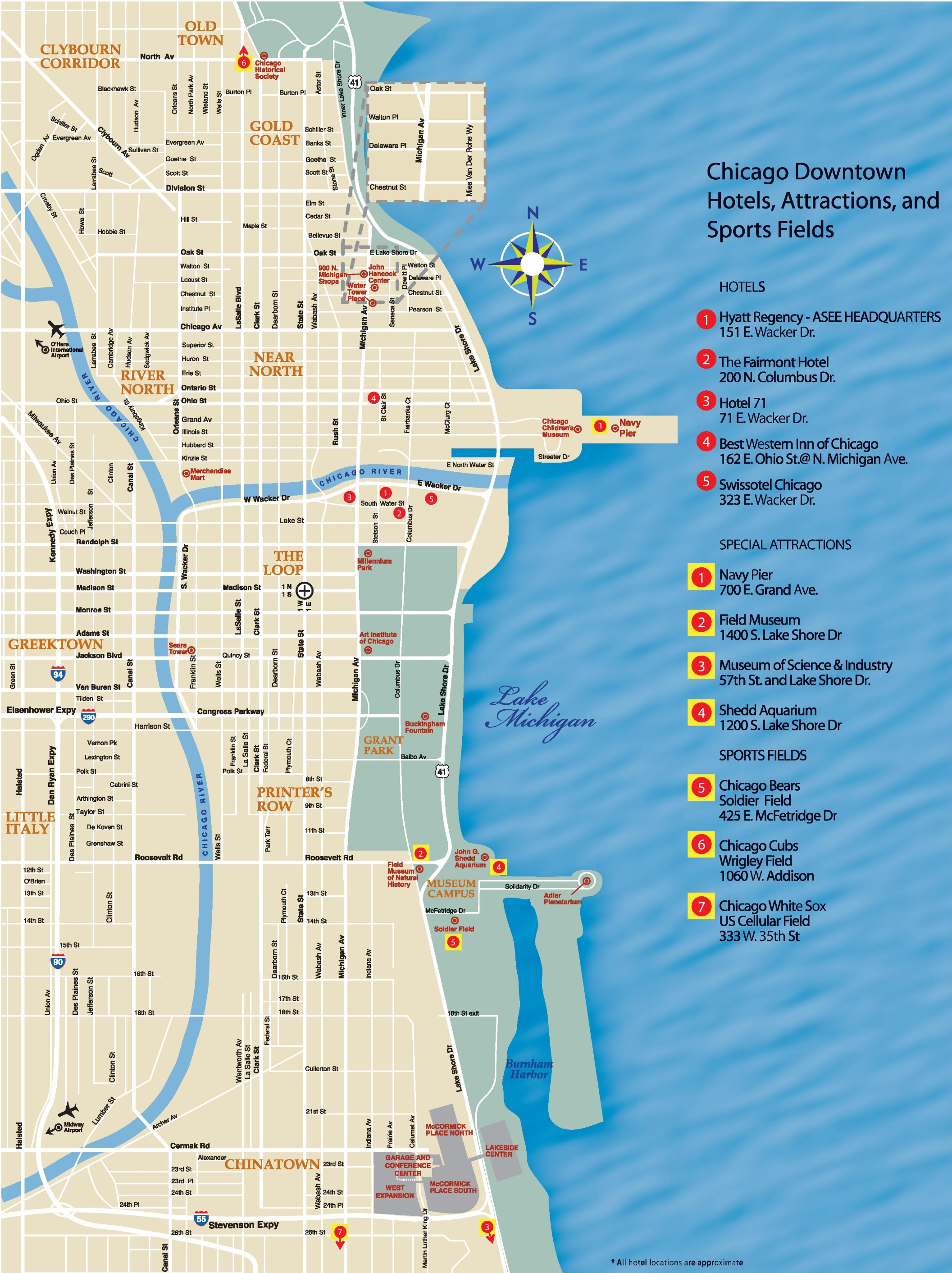 Chicago Downtown Map - Chicago on a us map