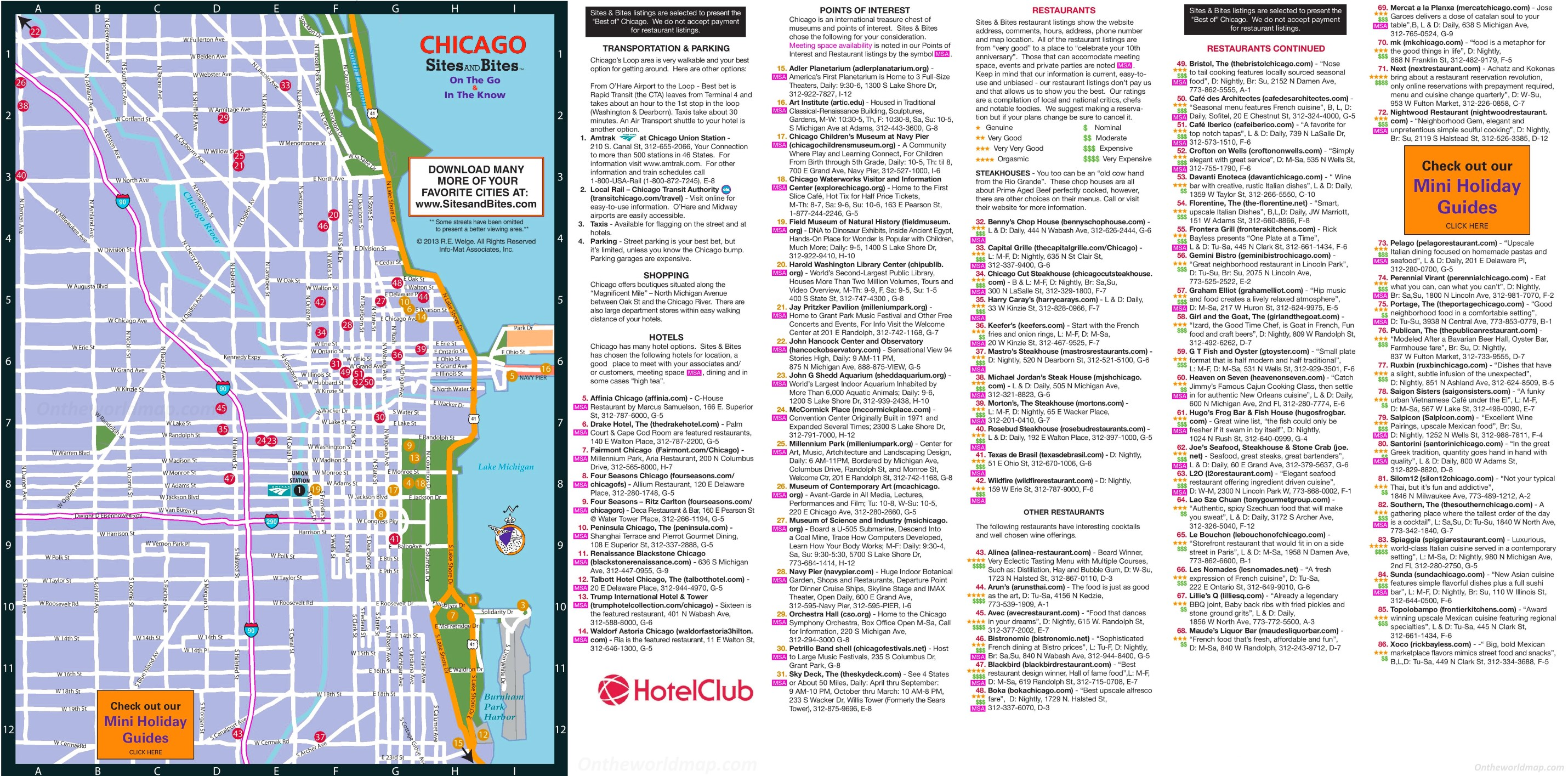 Chicago hotels, restaurants and sightseeing map on