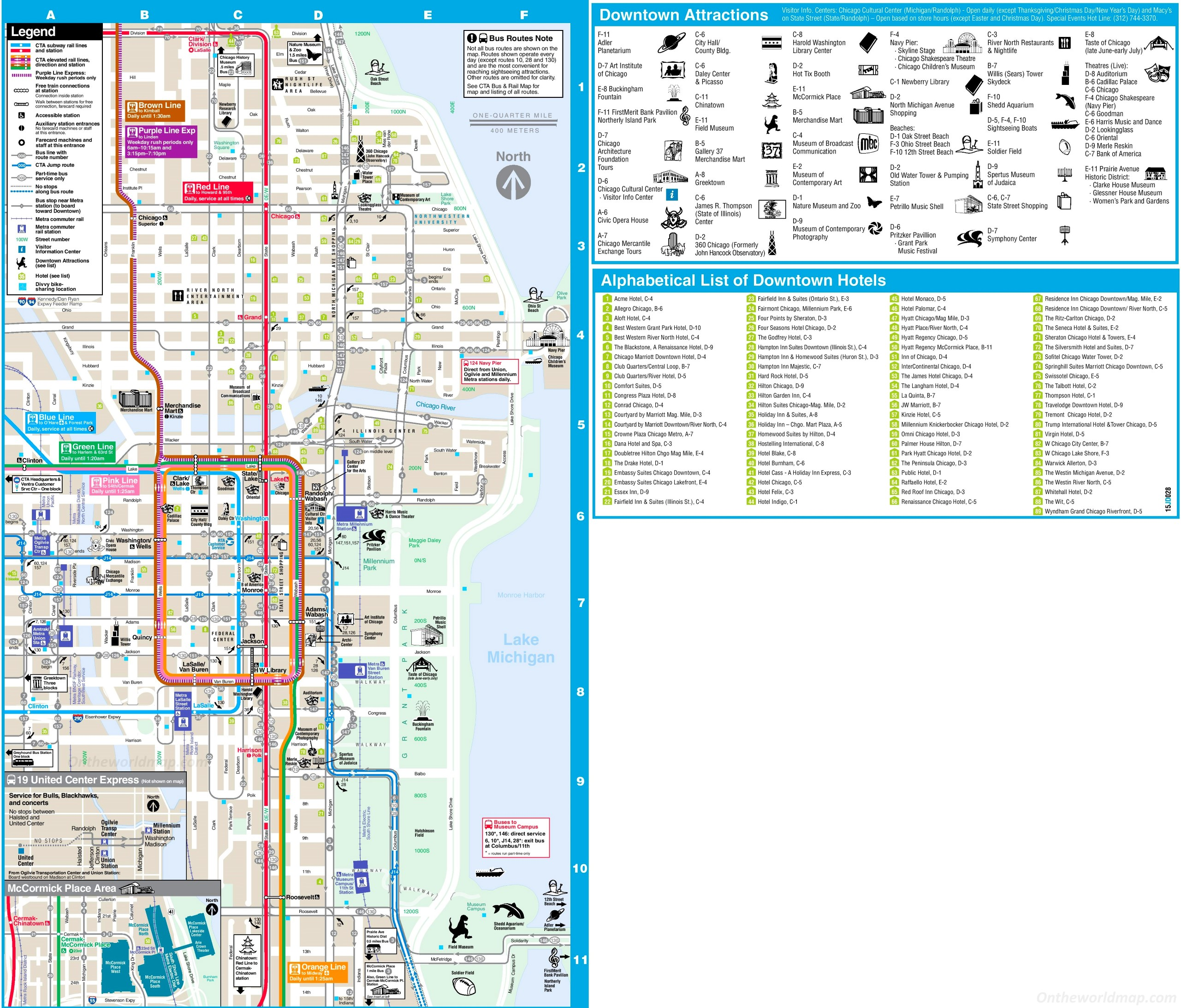 Chicago Loop Hotels And Tourist Attractions Map