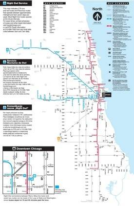 Chicago night transport map