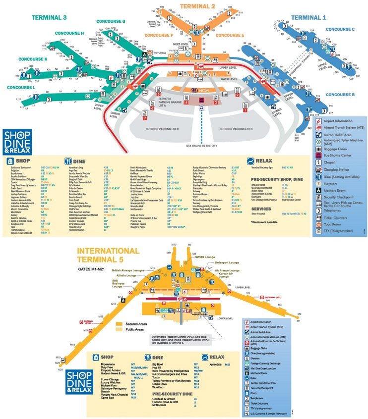 Chicago O'Hare Airport map