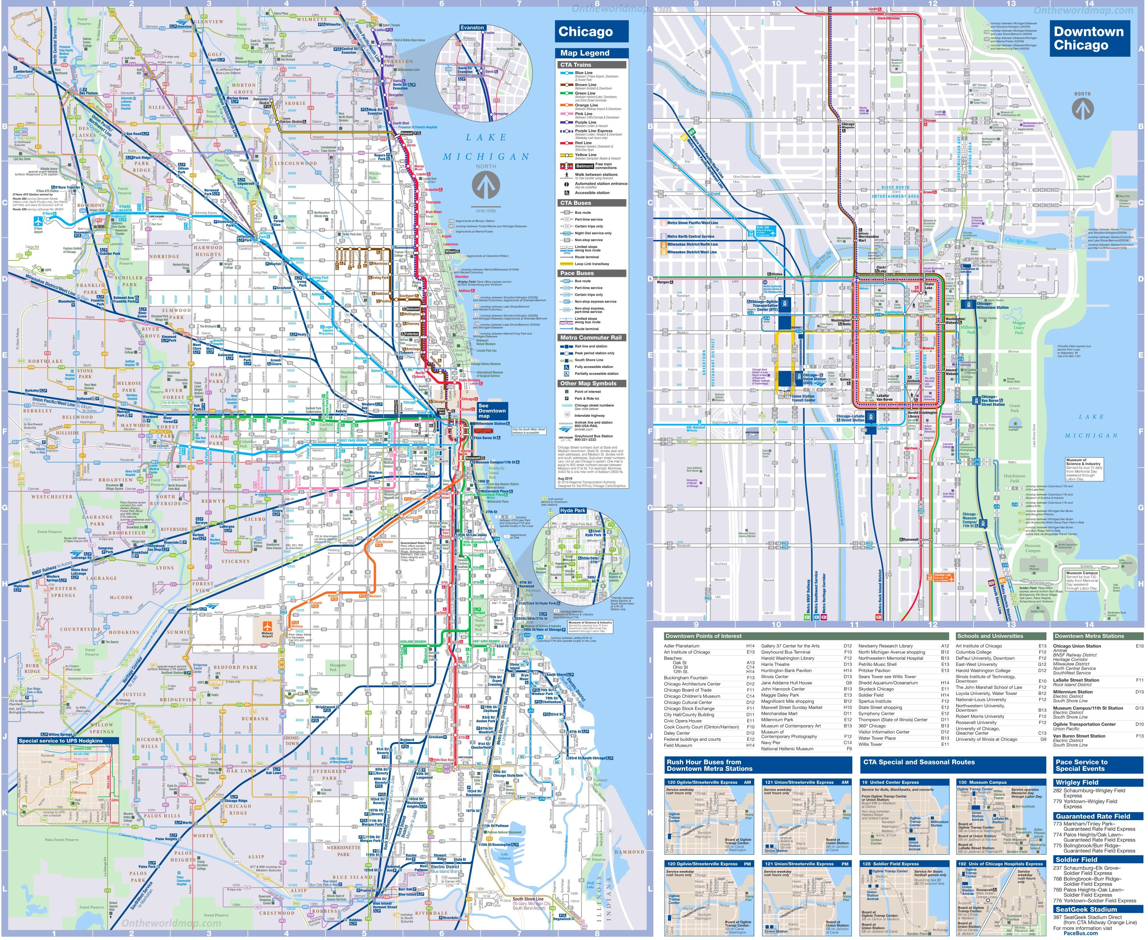 Chicago transport map