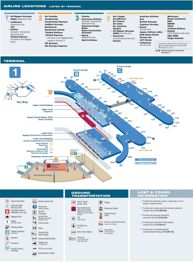 O'Hare Airport terminal 1 map