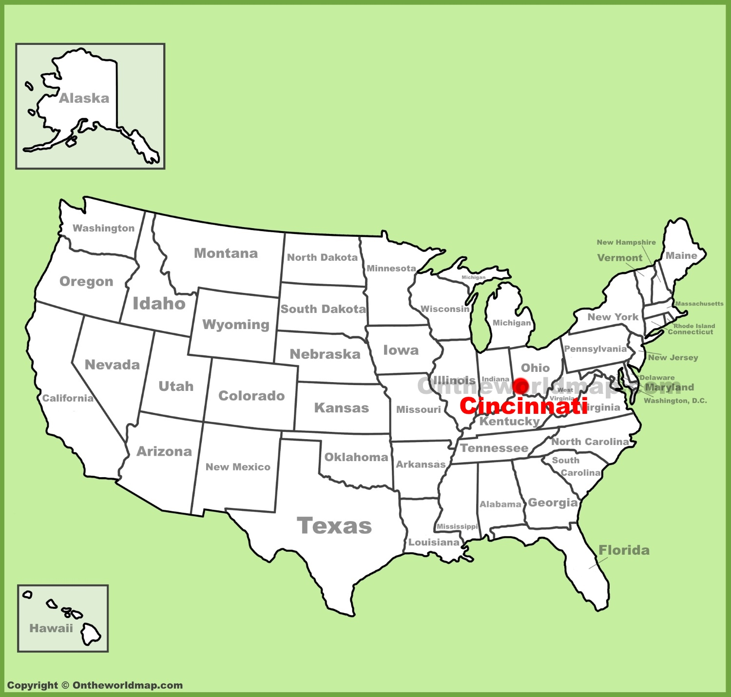 Cincinnati location on the US Map