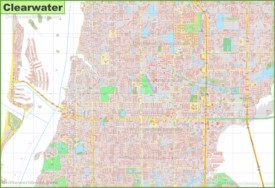Large detailed map of Clearwater