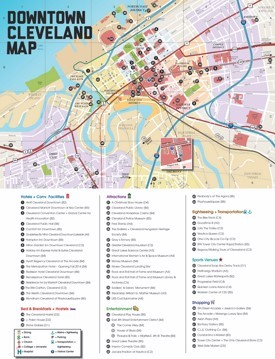 Cleveland hotels and sightseeings map