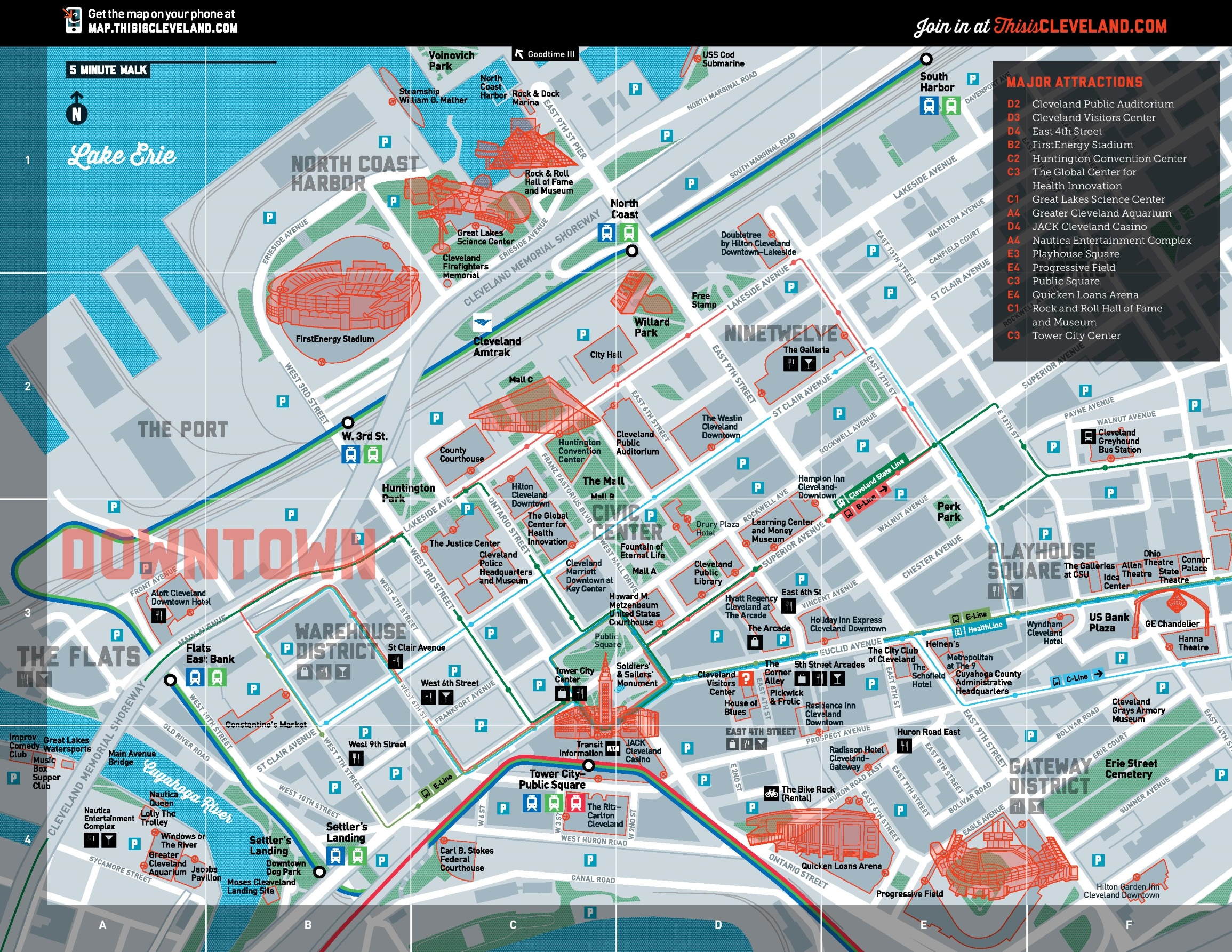 Map Of Downtown Cleveland Cleveland tourist attractions map