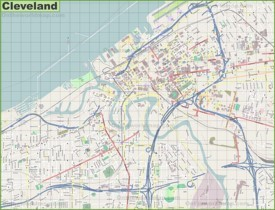 Large detailed map of Cleveland