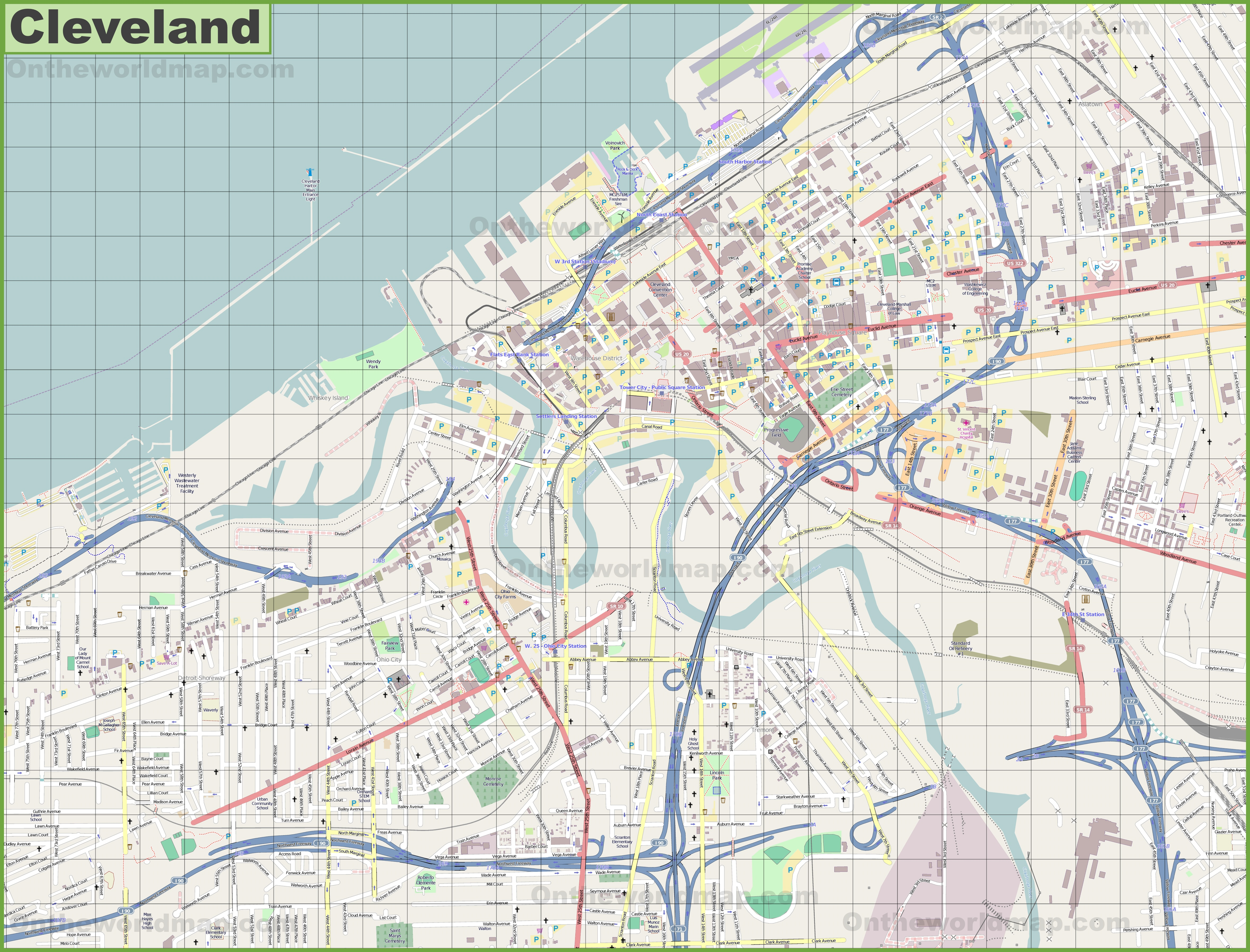 Cleveland Maps Ohio US Maps Of Cleveland - Cleveland us map