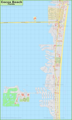 Large detailed map of Cocoa Beach