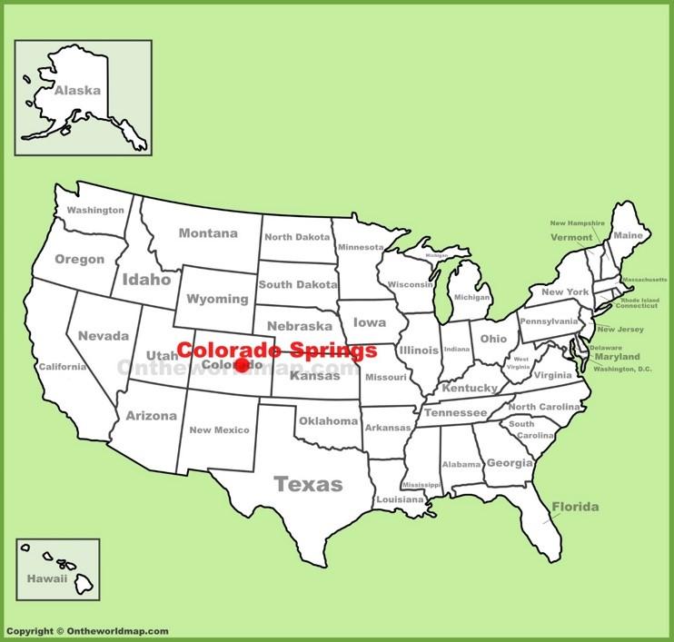 Colorado Springs location on the U.S. Map